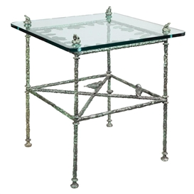 Artwork by Diego Giacometti, Table - Feuilles, Modele de Salle a Manger aux Grenoilles, Made of Bronze with green patina