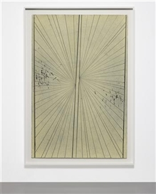 Artwork by Mark Grotjahn, Untitled (Cream Butterfly Thin Black Lines # 673), Made of colored pencil on paper