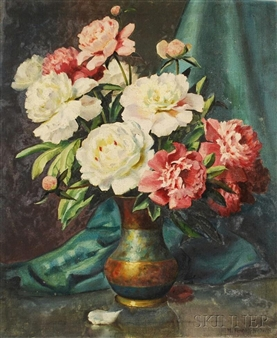 Still Life with Pink and White Peonies By Mae Bennett Brown