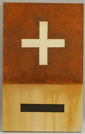 Artwork by Calvin Brown, Plate Protection and Culture, Made of Oil and steel mounted to canvas