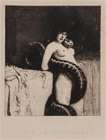 Artwork by Franz von Stuck, Die Sinnlichkeit, Made of etching on thick wove paper