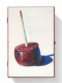 Artwork by Wayne Thiebaud, Candy Apple Cigar Box, Made of oil on wooden cigar box