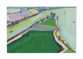 Artwork by Wayne Thiebaud, River Boats, Made of oil and graphite on canvas
