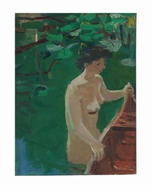 Artwork by David Park, Woman and Canoe, Made of oil on canvas