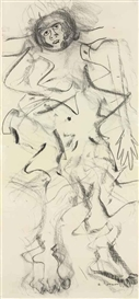 Artwork by Willem de Kooning, Woman, Made of charcoal on paper