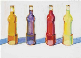 Artwork by Wayne Thiebaud, 4 Sodas, Made of watercolor and graphite on paper
