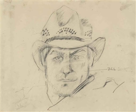 Artwork by Larry Rivers, de Kooning with My Texas Hat, Made of graphite on paper