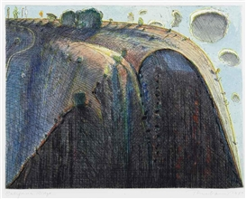 Artwork by Wayne Thiebaud, California Ridge, Made of watercolor over etching
