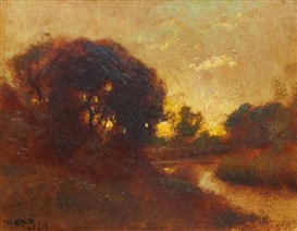 Artwork by William Keith, Twilight's Glow, Made of Oil on canvas laid on board