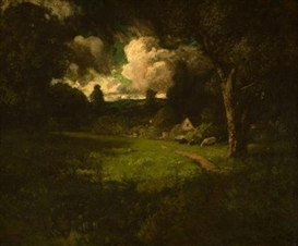 Artwork by William Keith, Cottage in a Sunlit Clearing, Made of Oil on canvas