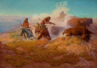 Canvas Santa Fe >> Wolf Lone | Apache on Horseback at Sunset | MutualArt