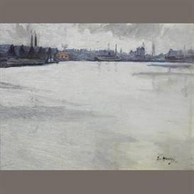 Artwork by Grace Henry, Dublin Docks, Made of oil on board