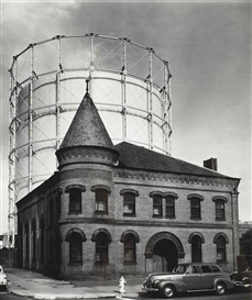 John Gutmann, The San Francisco Gas and Light Company (cylindrical building behind older building