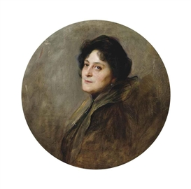 Philip Alexius de Laszlo, Portrait of Baronesse Wolff von Stomersee, née Alice Barbi 1901, bust-length, in an oval mount