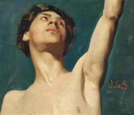 Artwork by John Singer Sargent, Study of a young man, Made of oil on canvas