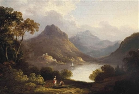 Artwork by Julius Caesar Ibbetson, Loch Leven Castle, Made of oil on canvas