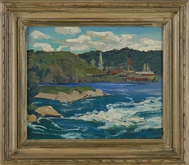 Artwork by Jonas Lie, River Rapids, Made of Oil on board