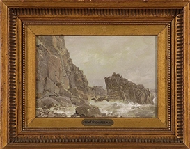 "William Trost Richards, Clovelly"", depicting rough seas crashing upon a rocky coast"