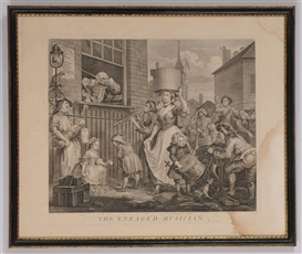 Artwork by William Hogarth, THE ENRAGED MUSICIAN, Made of print