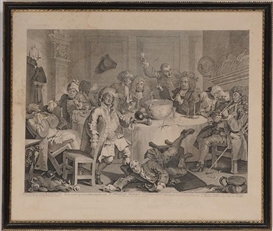Artwork by William Hogarth, A MIDNIGHT MODERN CONVERSATION, Made of print
