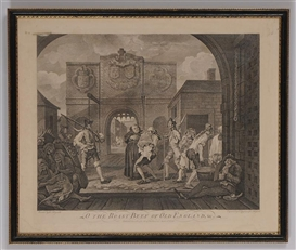 Artwork by William Hogarth, O THE ROAST BEEF OF OLD ENGLAND, Made of print