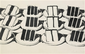 Artwork by Wayne Thiebaud, Layer Cakes, Made of Ink and graphite on paper