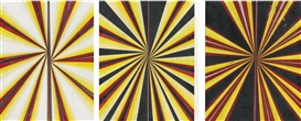Mark Grotjahn, 3 Works: Untitled (Black Yellow Red Pink Cream and White Butterfly Drawing)