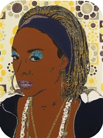 Artwork by Mickalene Thomas, Portrait of Lady Blue #2, Made of Rhinestones, acrylic and enamel on panel