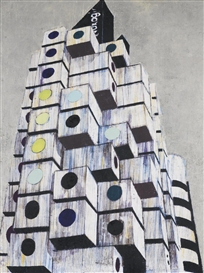Artwork by Enoc Pérez, Nakagin Capsule Tower, Tokyo, Made of Oil on canvas