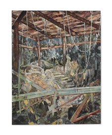 Artwork by Hernan Bas, This is just how we found it (the abandoned dig), Made of oil on canvas mounted on panel
