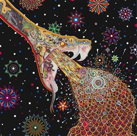Artwork by Fred Tomaselli, Penetrators, Made of acrylic, printed paper collage and resin on panel