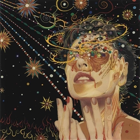 Artwork by Fred Tomaselli, Glassy, Made of acrylic, printed paper collage and resin on panel