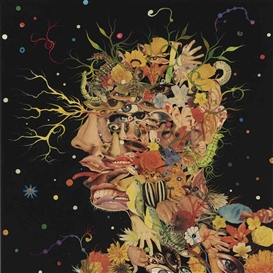 Artwork by Fred Tomaselli, Head, Made of acrylic, printed paper collage and resin on panel