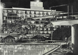 Artwork by Enoc Pérez, Hotel San Juan, Isla Verde, Puerto Rico, Made of graphite on paper