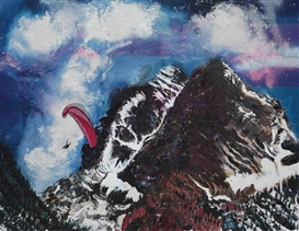 Artwork by Malcolm Morley, Maroon Bells, Made of oil on canvas with watercolor on paper collage and magnets