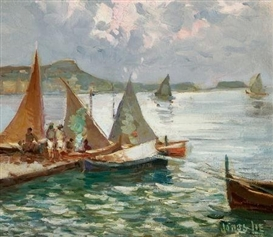 Artwork by Jonas Lie, Harbor Sails, Made of Oil on panel