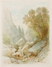 Artwork by William Trost Richards, Split Rock, Adirondacks, Made of Watercolor on paper