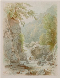 Artwork by William Trost Richards, Rice's Falls, Adirondacks, Made of Watercolor on paper