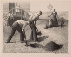 Artwork by Grant Wood, Tree Planting Group, Made of Lithograph on paper
