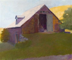 Wolf Kahn, Barn Against a Sunlit Hillside