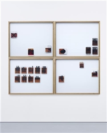 Artwork by Wade Guyton, Untitled, Made of Epson DURABrite inkjet on book pages, in artist's oak frames, and acrylic