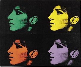 Artwork by Deborah Kass, Four Barbras (Jewish Jackie Series), Made of synthetic polymer paint and silkscreen ink on canvas