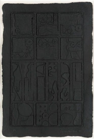 Artwork by Louise Nevelson, Moon Garden, Made of Cast paper relief in black