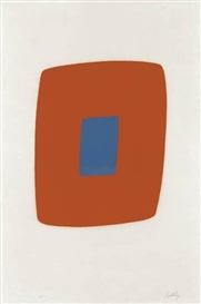 Artwork by Ellsworth Kelly, Orange with Blue, Made of Color lithograph on Rives BFK paper