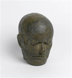 Artwork by Leonard Baskin, Head of William Blake (After Life Mask), Made of Bronze with greenish gold patina