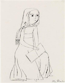 Artwork by Ben Shahn, Seated Woman with a Shawl and Book, Made of Brush and pen and black ink on cream wove paper