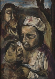 Artwork by Ben Shahn, A Nurse Giving Aid, Made of Oil on board