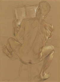 Artwork by Paul Cadmus, Seated Nude, Reading, Made of Crayon on brown laid paper