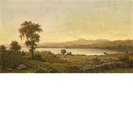 Artwork by Martin Johnson Heade, Rhode Island Scene (A Lake Study), Made of Oil on canvas