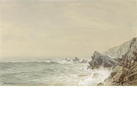 Artwork by William Trost Richards, Seascape with Rock Coast, Made of Watercolor heightened with white on paper
